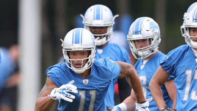 Lions receiver Marvin Jones Jr. goes through drills during minicamp Wednesday, June 14, 2017 at the practice facility in Allen Park.