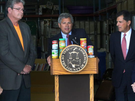 "Senator Chirstopher ""Kip"" Bateman speaks at the launch of the annual Curbing Hunger collection program in Somerset County on Monday."