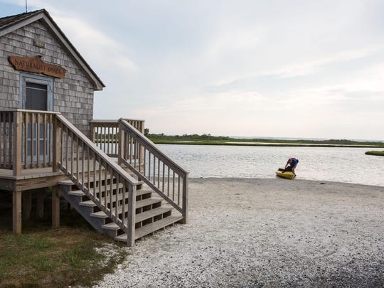 Mike Davis of Wiles-Barre, Pennsylvania, and his dog, Bella, launch a kayak from a beach near the Naturalist Shack by Old Ferry Landing at Assateague Island National Seashore on Tuesday, June 30.