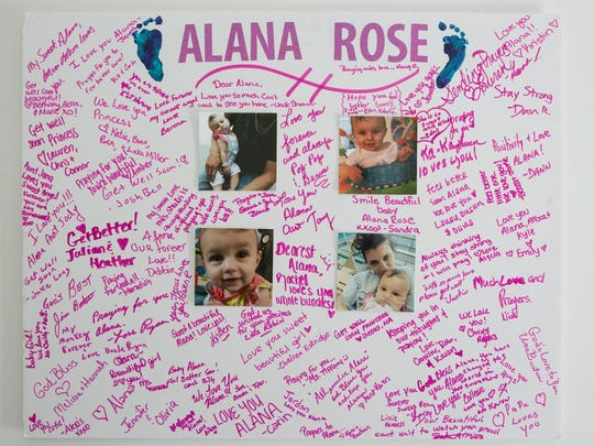 This poster displayed in Alana's room includes signatures of everybody who came to visit her in the hospital including family, friends, and the team who worked with her at AI duPont Hospital for Children.