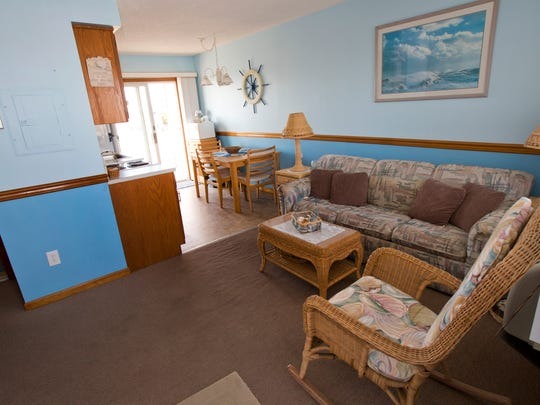 The living room and kitchen of Ralph Hook's condominium in the Ortley Beach section of Toms River, which he rents to summer tourists.