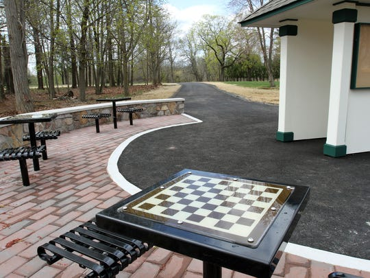 These are new tables and paved path at new Skillman Park in Montgomery. Somerset County officials held a grand-opening ceremony there Thursday.