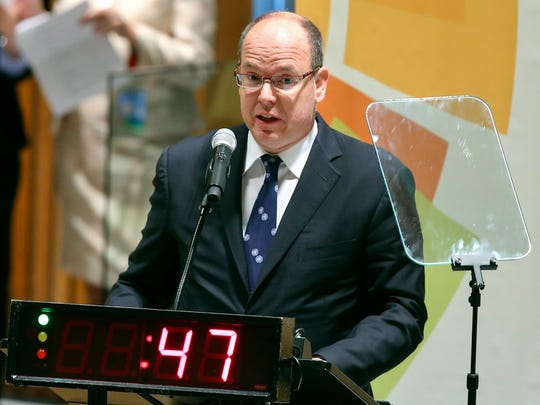 Monaco's Prince Albert II speaks during the United Nations Climate Summit, Tuesday, Sept. 23, 2014, at U.N. headquarters.
