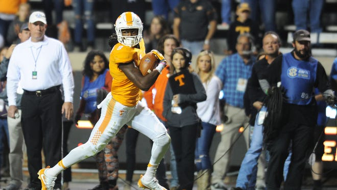Vols punt returner Marquez Callaway sprints down the field for a touchdown during the second half against Tennessee Tech on Nov. 5, 2016, at Neyland Stadium.