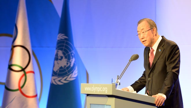 U.N. Secretary-General Ban Ki Moon speaks at an International Olympic Committee session in Sochi on the sidelines of the 2014 Winter Olympics on Feb. 6, 2014.