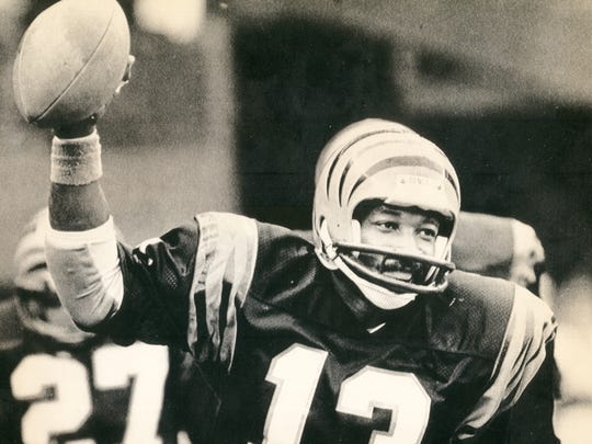 From 1982: Cornerback Ken Riley leaves the field with his third interception of the day against the Los Angeles Raiders. Riley, a 14-year veteran at the time that this photo was taken, was leading the league in career interceptions with 55.