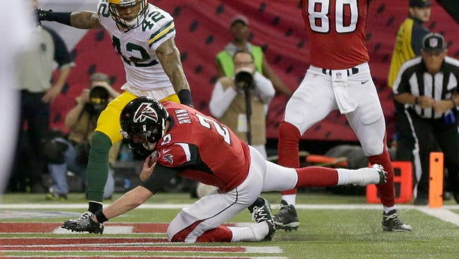 Atlanta Falcons quarterback Matt Ryan (2) scores a touchdown during the 2nd quarter of the Green Bay Packers NFC Championship game against the Atlanta Falcons at the Georgia Dome in Atlanta, Georgia on Sunday, January 22, 2017. Mike De Sisti / Milwaukee Journal Sentinel