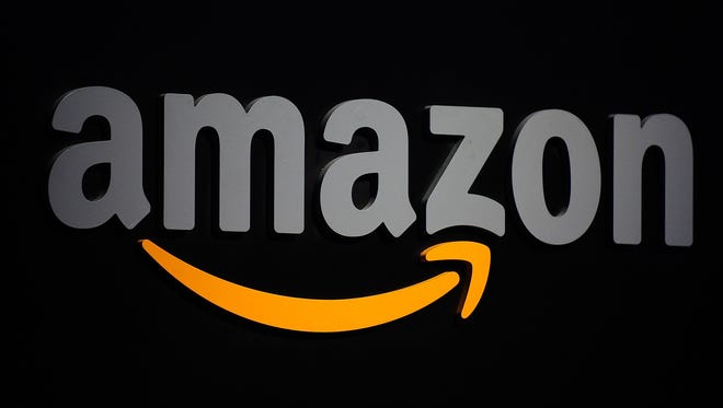 This September 28, 2011 file photo shows the Amazon logo during a press conference in New York.