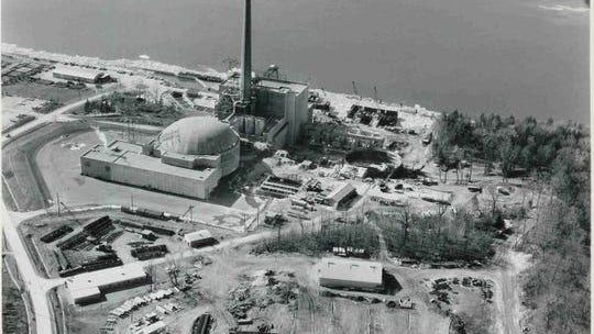 Aerial view of the Indian Point nuclear power plant in the late 1960s.