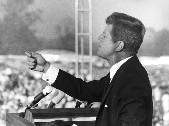 President John F. Kennedy addresses a crowd at Weir Cook Airport during an Oct. 1962 campaign stop to stump for Indiana Democratic candidates.