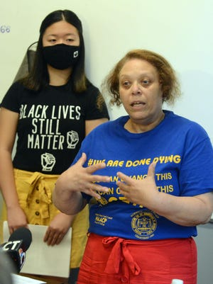 Shiela Hayes, right, Norwich NAACP chapter president and Karen Lau, Robersine Duncan Youth Council president, both spoke Monday about the NAACP Police Accountability  Task Force at Foundry 66 in downtown Norwich. See video at NorwichBulletin.com