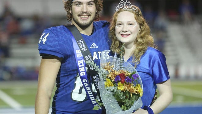 Boonville seniors Harper Stock and Jamie Schenck were named Homecoming King and Queen during halftime of Friday night's game against the California Pintos at Gene Reagan field. The Pirates fell to the Pintos 21-14, dropping them to 2-3 overall and 0-3 in the Tri-County Conference.