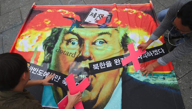 A caricature of President Trump in Seoul on Sept. 27, 2017.
