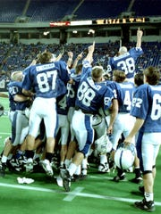 Sartell Players celebrate at the Metrodome in 1994.
