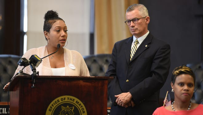 Chonah Bendy of Bloomfield is a client of New Jersey Reentry Corporation. Former Gov. Jim McGreevey, right, chairman of the board of NJRC, visited Paterson on July 30, 2018, to announce the launch of the application process for NJBuild, a pre-apprenticeship training program from the NJRC. The program will serve the economically disadvantaged, minorities and women, and will increase opportunities for people with a history of addiction and incarceration.