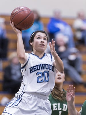 Redwood's Samantha Navarro shoots against El Diamante in a West Yosemite League girls basketball game on Tuesday.