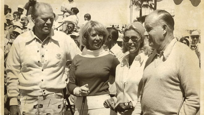 From left, Former President Gerald Ford, actress and tournament host Dinah Shore, golfer Judy Rankin and Colgate-Palmolive president David Foster are pictured during a Colgate Dinah-Shore Winners Circle tournament in Rancho Mirage. Foster's commitment to the women's game helped boost purses for women's golf.