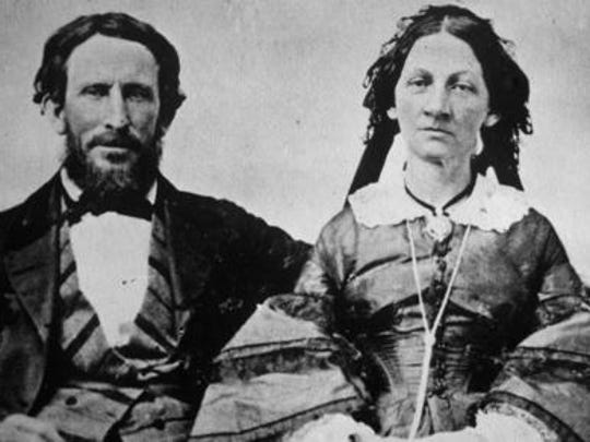 This photo provided by the Utah State Historical Society shows Donner Party survivors, James F. Reed and his wife, Margret W. Keyes Reed, in this file photo taken in the 1850s.