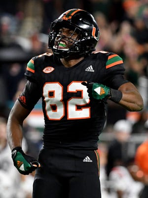 Miami Hurricanes wide receiver Ahmmon Richards (82) reacts during a game against Virginia Tech Hokies at Hard Rock Stadium. Mandatory Credit: Steve Mitchell-USA TODAY Sports