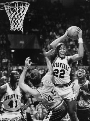 Louisville center Rodney McCray pulls down a rebound during a game against Kansas State on Jan. 6, 1980. McCray and former UK star Sam Bowie were members of the 1980 U.S. men's Olympic squad that boycotted the Moscow Games.