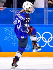 United States forward Jocelyne Lamoureux (17) celebrates