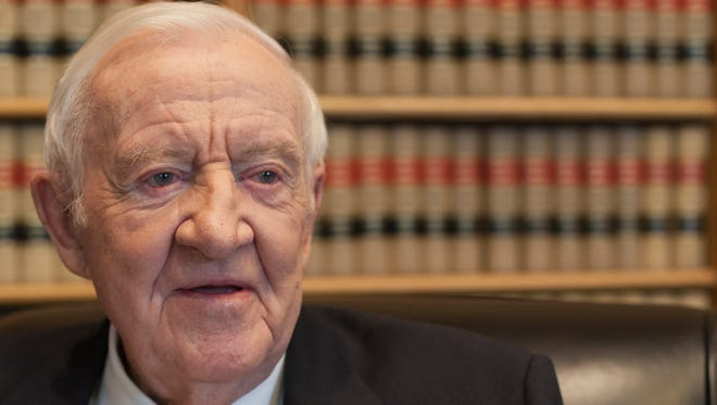 Former Supreme Court justice John Paul Stevens sits for an interview in his chambers with USA TODAY in 2014.