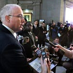 Sen. Mike Delph, R-Carmel, speaks to the media on Feb. 17, explaining his problems with Senate leadership and his frustrations over the fate of the state's proposed constitutional ban on same-sex marriage.