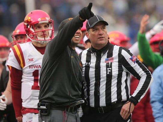 ISU head coach Matt Campbell points to the playback