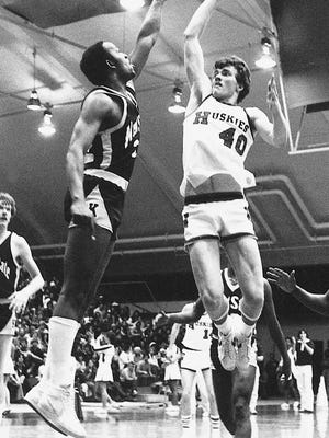 Dakota grad Allen Rayhorn (40) was famous for his one-handed jumper and graduated from NIU in 1982 as the all-time leading score in the Mid-American Conference with 1,848 points.