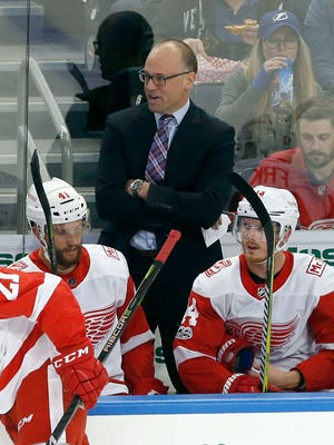 Red Wings coach Jeff Blashill during the first period against the Lightning on Thursday in Tampa.
