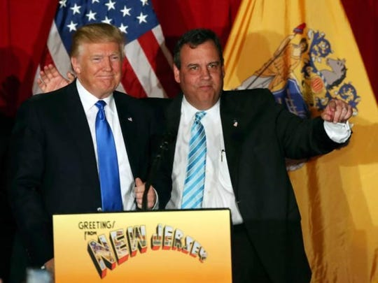 Republican presidential candidate Donald Trump, left, stands with New Jersey Gov. Chris Christie at a campaign event Thursday, May 19, 2016, in Lawrenceville, N.J.