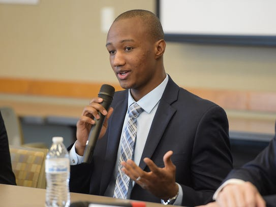 Fort Collins mayor candidate Kwon Atlas speaks at a
