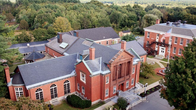 A bird's eye view of the Thayer Memorial Library  from the bell tower of the First Church of Christ Unitarian.