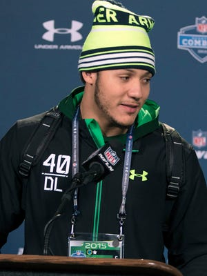 Missouri defensive lineman Shane Ray talks to the media at the 2015 NFL Combine at Lucas Oil Stadium. Mandatory Credit: Trevor Ruszkowski-USA TODAY Sports