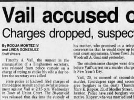 A news clipping from Timothy Vail's murder trial coverage