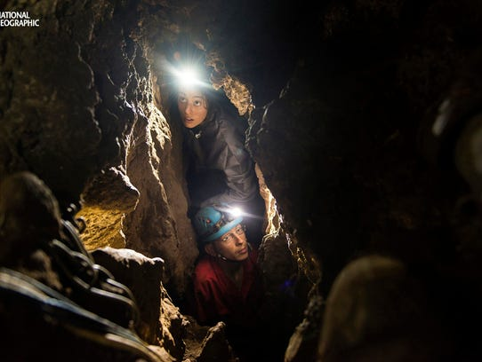 Lee Berger's daughter, Megan, and underground exploration