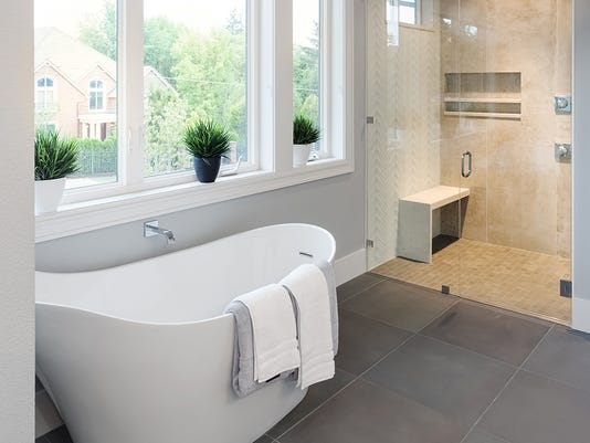Bathroom in Luxury Home: Bathtub and Shower