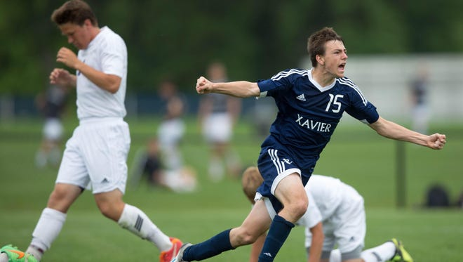 Xavier High School's Central Clinton's in the second overtime Saturday, June 6, 2015, during the IHSAA State Soccer Championships at Cownie Soccer Park in Des Moines.