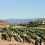 The patio at Leoness Cellars winery in Temecula, Calif., offers sweeping views.