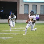 Grambling safety Guy Stallworth, right, picks off a pass during Saturdays win over Jackson State.