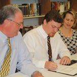Presbyterian Christian senior linebacker Seth Holloway signed a football scholarship offer to play for Mississippi College. He is the son of Mr. and Mrs. Homer Holloway of Sumrall.