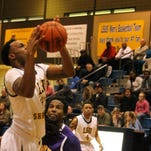 LSUS' Lyndale James drives for two points against Texas College on Saturday night.
