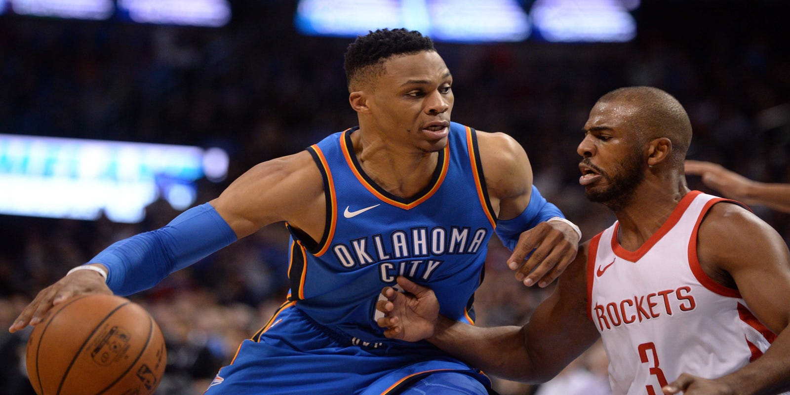 reputable site 98e61 334a3 NBA: Thunder's Russell Westbrook traded to Rockets for Chris ...