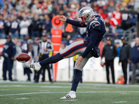 Jan 21, 2018; Foxborough, MA, USA; New England Patriots punter Ryan Allen (6) punts during the first quarter against the Jacksonville Jaguars in the AFC Championship Game at Gillette Stadium. Mandatory Credit: David Butler II-USA TODAY Sports