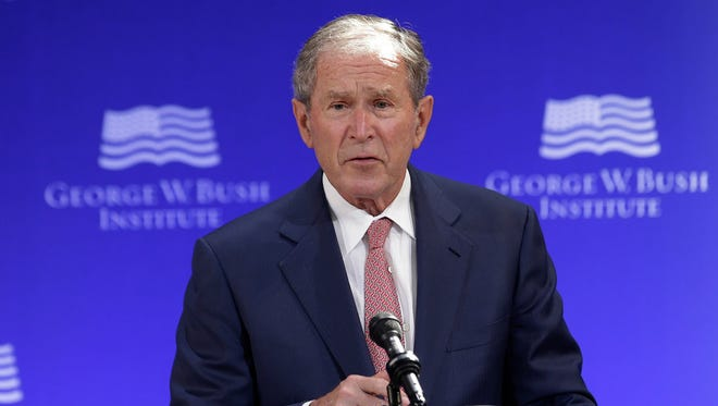 In this Thursday, Oct. 19, 2017, file photo, former U.S. President George W. Bush speaks at a forum sponsored by the George W. Bush Institute in New York.