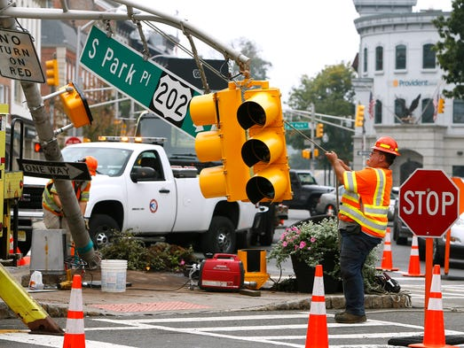 Crash Downs Traffic Light Near Morristown Green