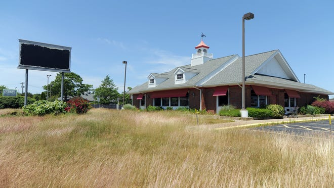 The sign at the Friendly's restaurant site on Route 132 has been blacked out. The Hyannis franchise was the last remaining location for the chain on Cape Cod.