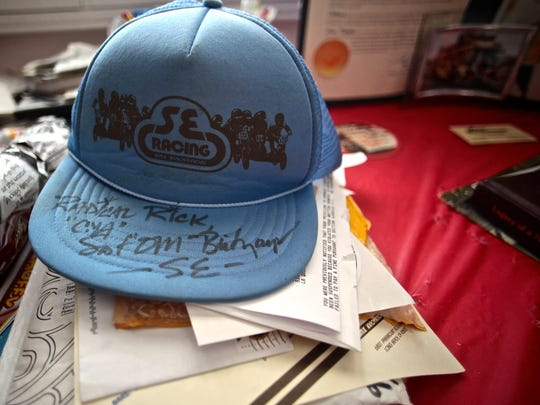 An autographed hat of Scot Breithaupt remains in his mother's home after being found dead in a make shift shelter in Indio. Breithaupt was a National BMX Hall of Fame Member, founding track operator, star racer and founder of the BMX company SE Racing.