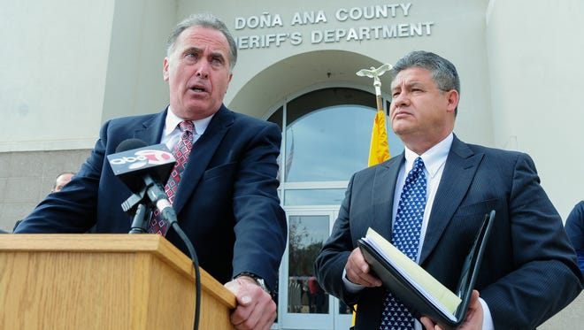 Third Judicial District Attorney Mark D'Antonio, left, and Doña Ana County Sheriff Enrique Vigil announces to the media that the sheriff's office has taken over command of the Doña Ana County Detention Center on Tuesday.