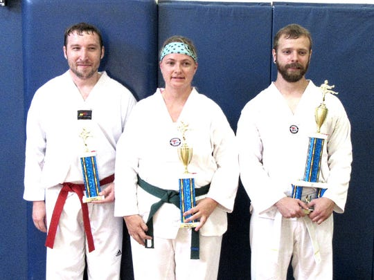 Participants in a recent fall testing at the Stevens Point Area YMCA included, from left to right, Tom Clohan, Carrie Murray, and James Barton.